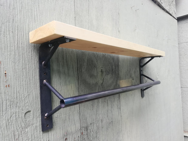 Industrial Kitchen Rail and Shelf