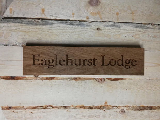 House, Garden Cabin & Stable - Oak Name Plaque
