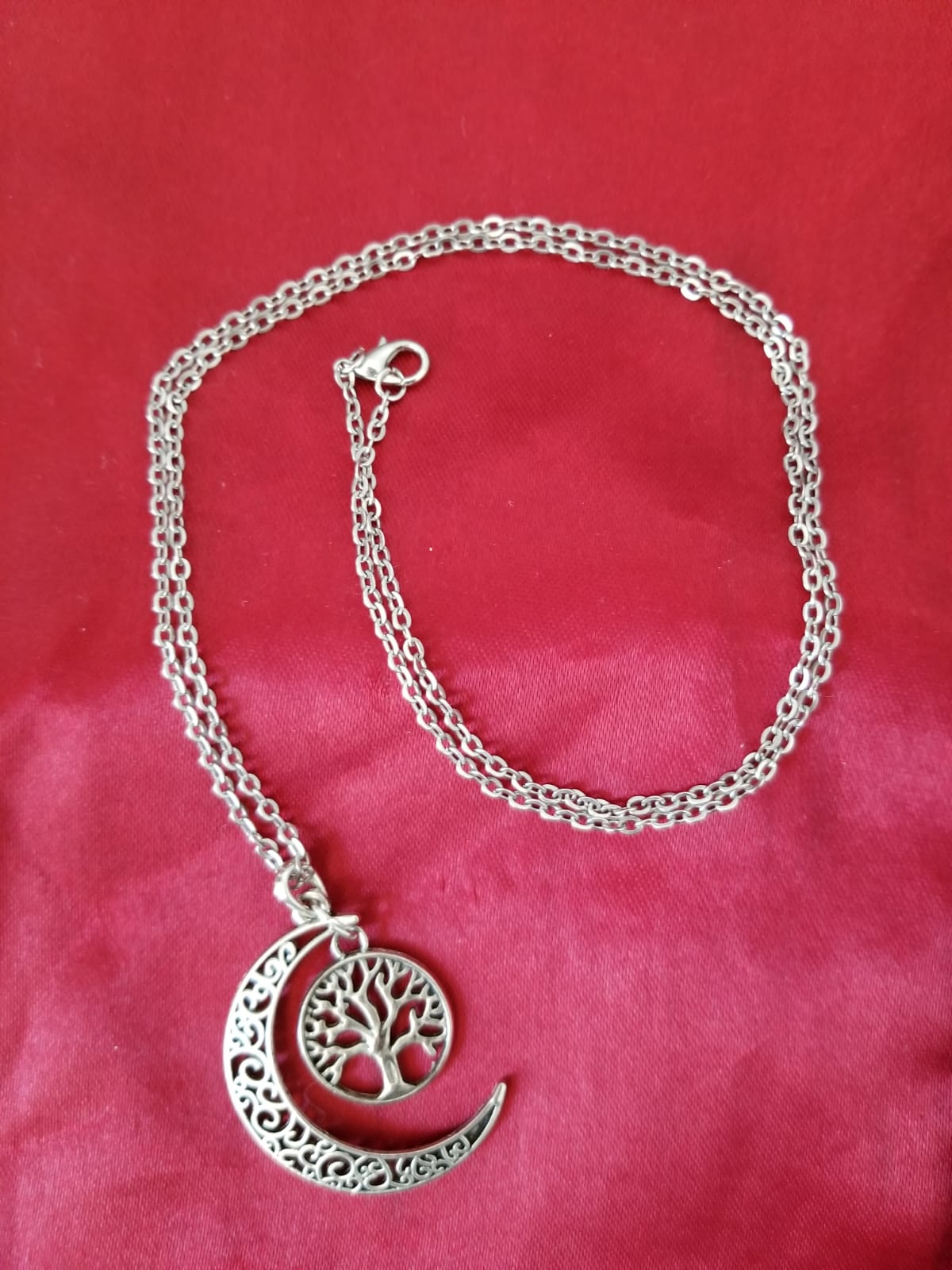 Sterling Silver Crescent Moon Necklace with Tree of Life or Lotus Pendant