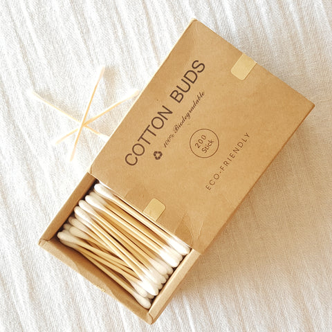 Eco-Friendly Bamboo Cotton Buds with Double Rounded Tips - 200Pcs