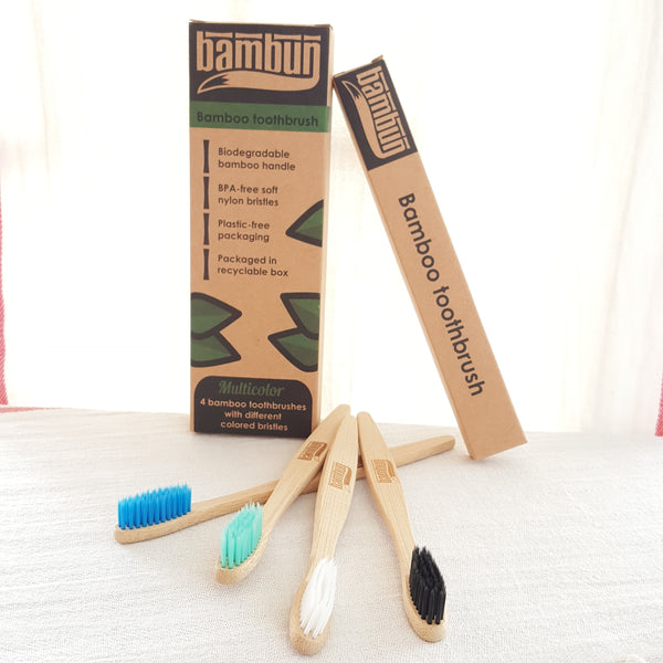 Eco-friendly Biodegradable Bamboo Toothbrush - 4 pcs Multicolored Pack