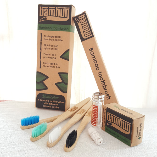 Eco Friendly 4 Adult Bamboo Toothbrushes and Silk Dental Floss in Glass Bottle Starter Pack