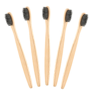 Eco-Friendly Adult Bamboo Charcoal Toothbrush - 5 Pcs