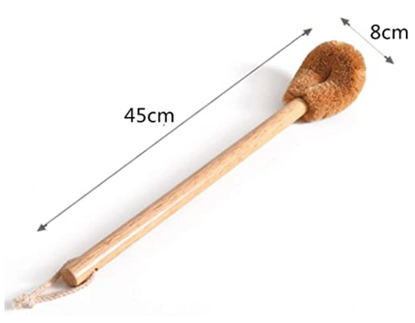 Eco Friendly Coconut Toilet Brush with Beechwood Long Handle and Hanging Rope