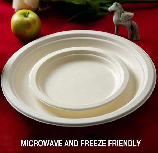 Eco-Friendly Disposable Degradable Compostable Paper Plates - 100PCS