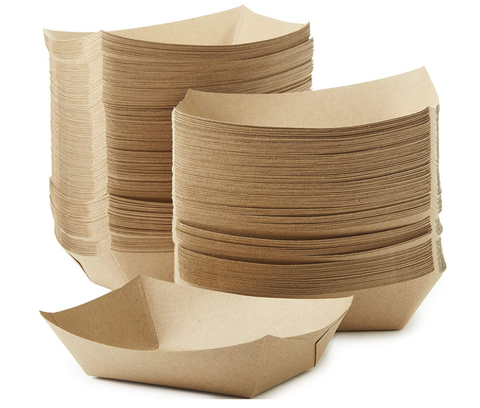Eco-Friendly Disposable USA-Made 3lb Food Boat Paper Trays - 50 pcs