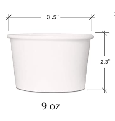 Eco-Friendly Disposable Paper Ice Cream Cups (9 oz) - 50pcs