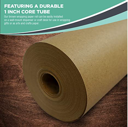 "Eco Friendly Brown Kraft Paper for Crafting, Wrapping, Packing, Paper Tablecloths (18"" x 100 ft)"