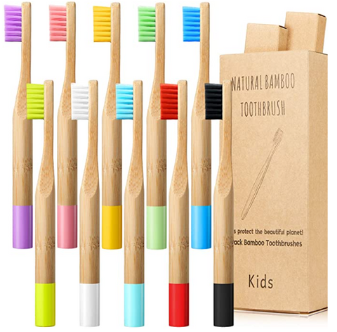 Eco-Friendly Kids Soft Bamboo Toothbrush - 10 pcs