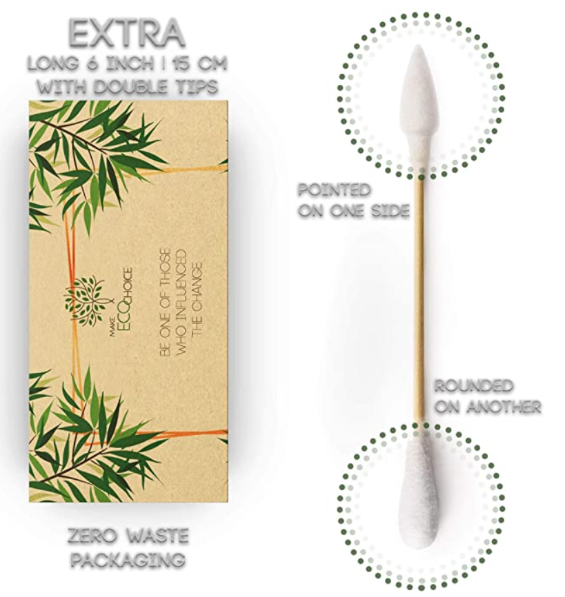 Eco-Friendly Bamboo (6 inch) Long Cotton Buds with Pointed and Rounded Tips - 200pcs (6 inch)