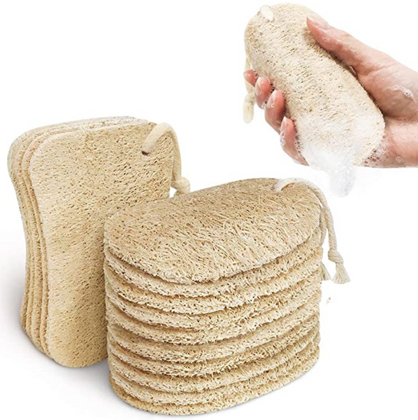 Eco-Friendly Natural Loofah 2 designs Sponge Pads With Hanging Cotton Rope - 15pcs per set