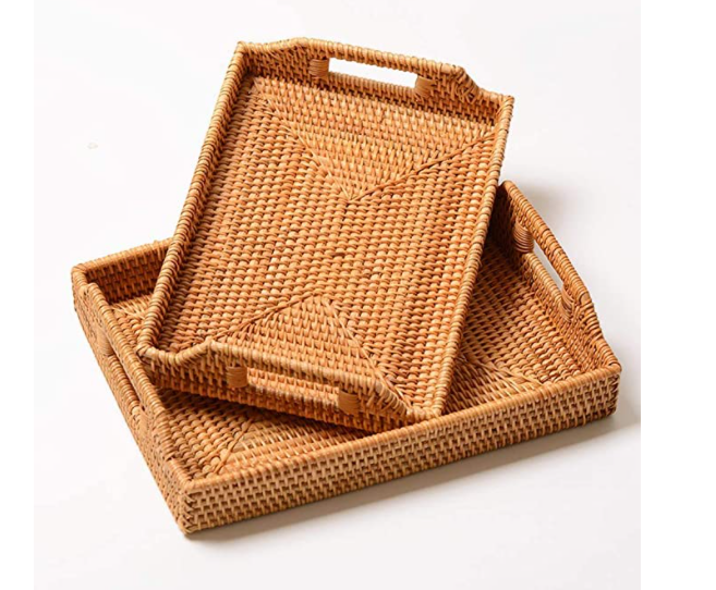 Handmade Rattan Rectangle Food and Decorative Storage Tray - set of 2