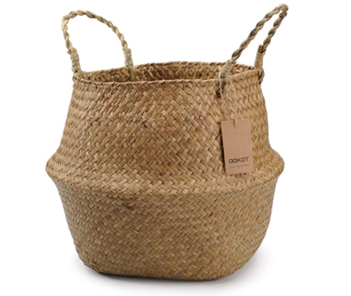 Natural Round Seagrass Belly Storage Basket with Handles - 3 sizes