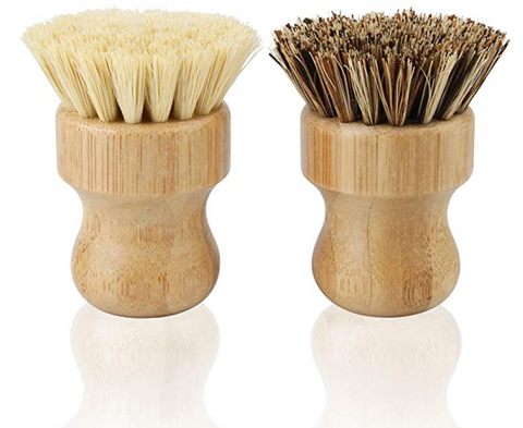 Eco-Friendly Short Handle Bamboo Dish Scrub Hard and Soft Brush - 2 pcs