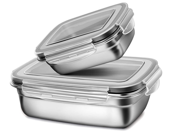 Eco Friendly Stainless Steel Leak Proof Bento Lunch Boxes - 2 pcs