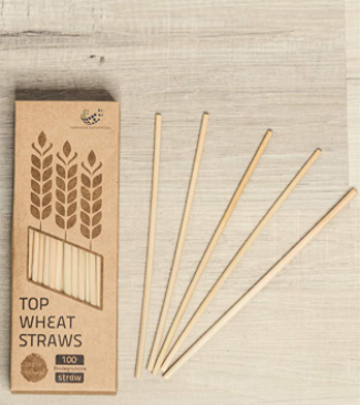 Eco-friendly Biodegradable Wheat Straws - 100pcs