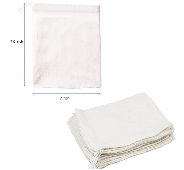 Eco-Friendly Cotton Muslin Drawstring Packing Cheese Cloth Bag - 24 pcs