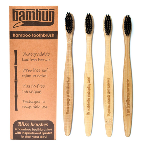 Eco-friendly Biodegradable Bamboo Toothbrush with Inspirational Quotes - 4 pcs