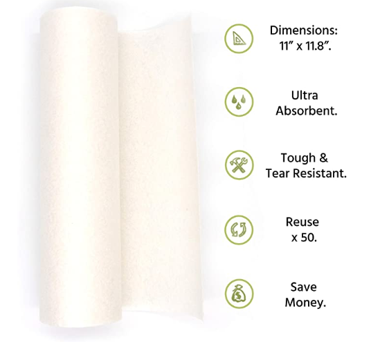 Eco Friendly Machine Washable Reusable Bamboo Paper Towels with 2 Cotton Storage Bags