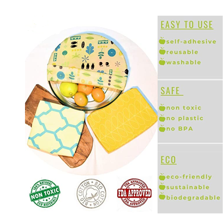 Eco Friendly Organic Reusable Self Adhesive Beeswax Food Wraps