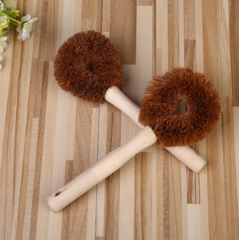 Eco-Friendly Coconut Pot Scourer Brush with Long Handle