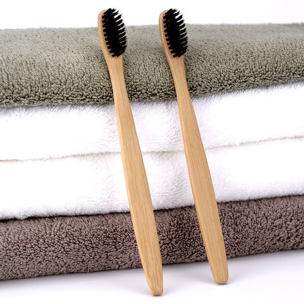 Eco-Friendly Adult Bamboo Charcoal Toothbrush - 2 Pcs