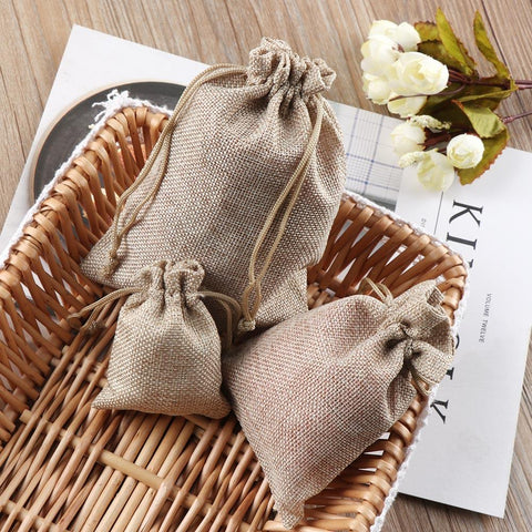 Eco Friendly Linen Jute Drawstring Gift Bags - 20pcs