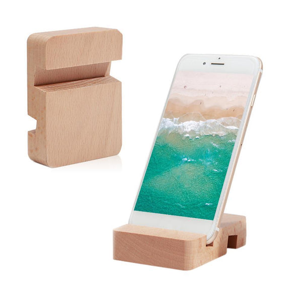 Eco-Friendly Natural Bamboo Mobile Phone Desktop Holder - 2 pcs