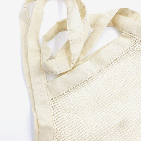 Eco Friendly Cotton Mesh cum Tote Shopping Bag with Long Handle & Reinforced Bottom - 2 pcs