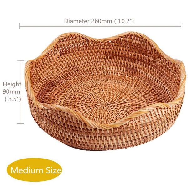 Handmade Rattan Round Food and Fruit Storage Basket - set of 3