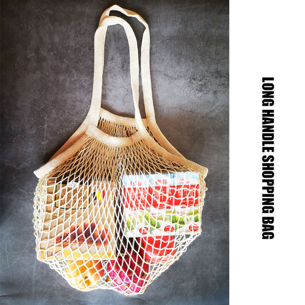 Eco Friendly Cotton Mesh Shopping Bag with Long Handle - Set of 3pcs
