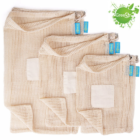 Eco Friendly Organic Cotton Drawstring Mesh Produce Bags - 6pcs/set
