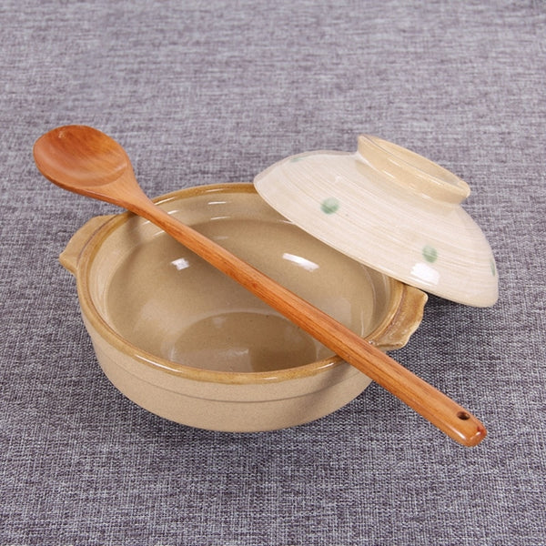 Eco Friendly Long Handle Wooden Soup Spoon - 2 pcs