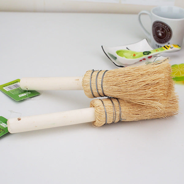 Eco-Friendly Soft Hair Natural Coconut Pot Cleaning Brush with Wooden Handle - 2 pcs