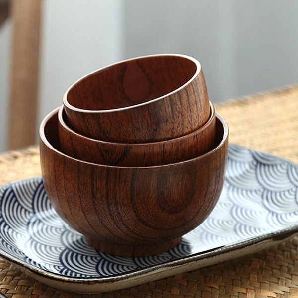 Eco Friendly Japanese Style Wooden Bowls (3 Sizes) - 4 pcs