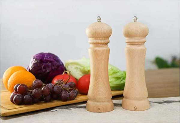 Eco Friendly Wooden Salt and Pepper Grinder Set with Adjustable Ceramic Rotor