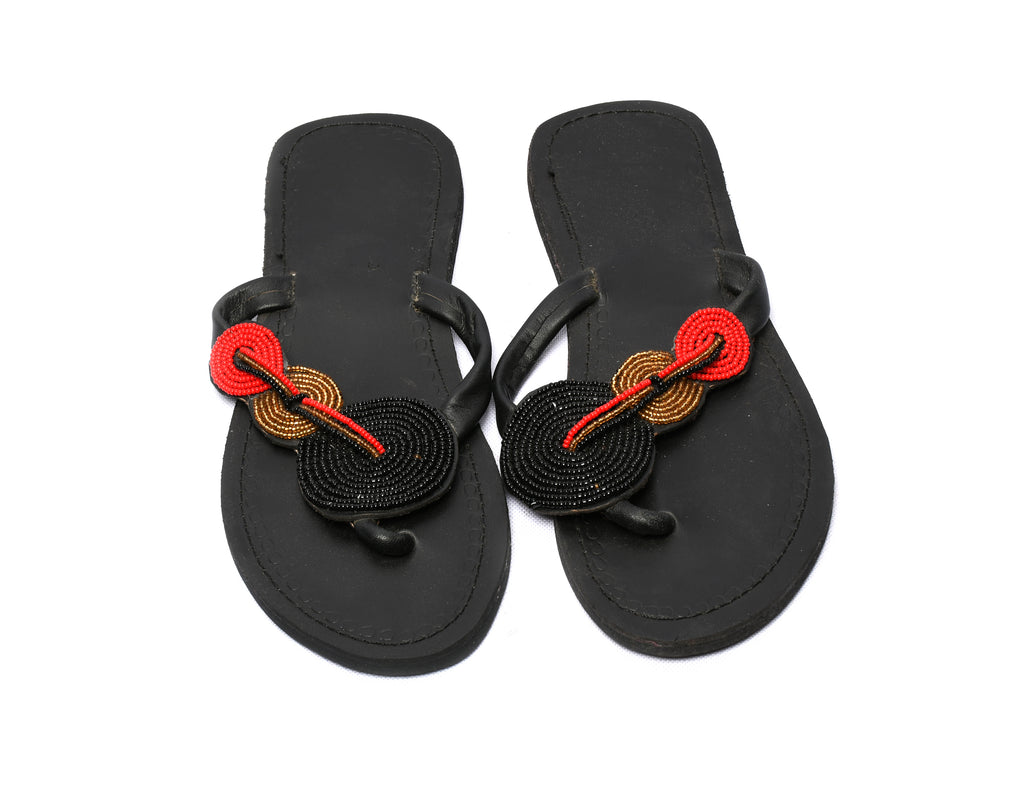 Sandals black and red