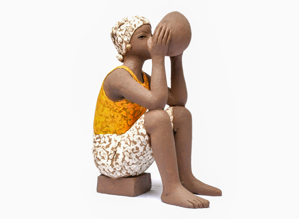 TERRACOTTA GIRL DRINKING FROM CALABASH