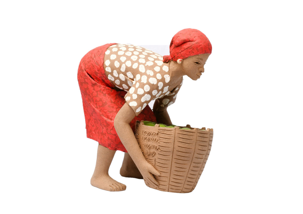 TERRACOTTA LITTLE GIRL LIFTING BASKET OF FRUIT
