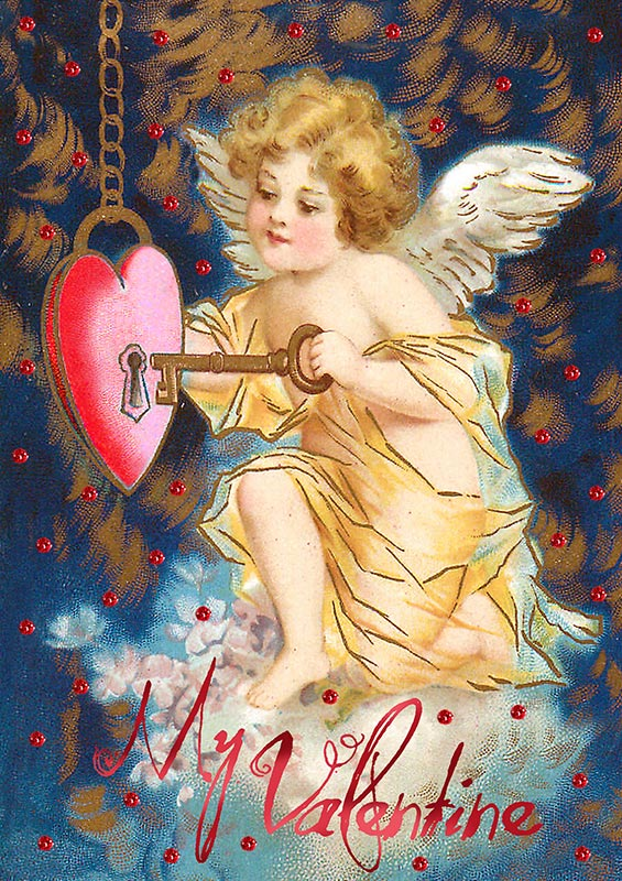Valentine's Day Card- My Valentine-Angel and Key