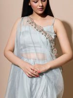 Load image into Gallery viewer, Organza Grey Cape With Satin Dhoti Set