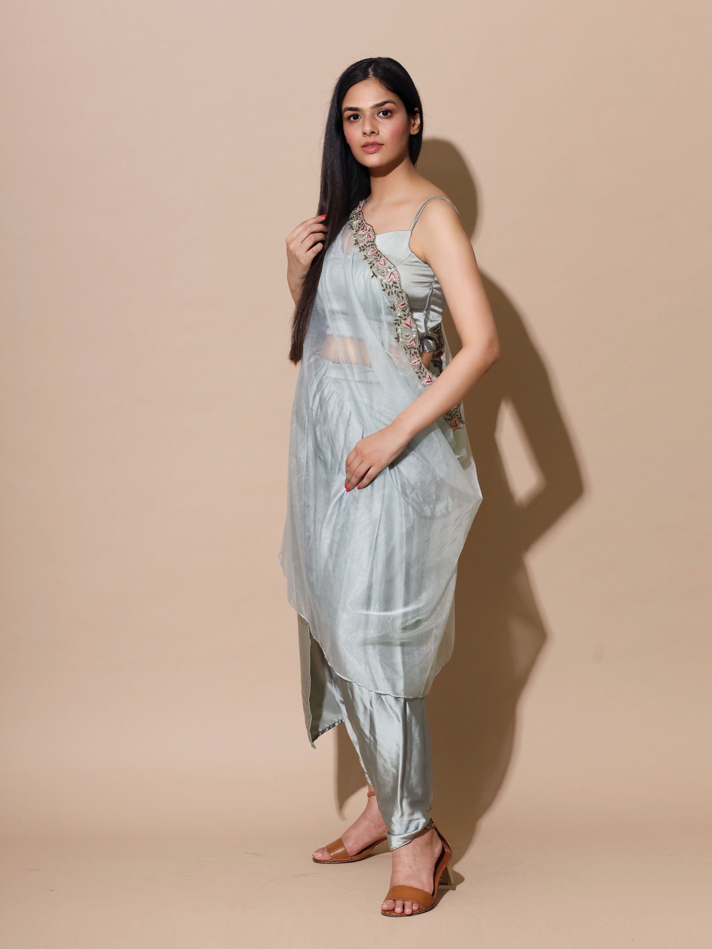 Organza Grey Cape With Satin Dhoti Set