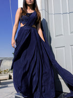 Load image into Gallery viewer, CURIOUS COMPONENTS | Pure Crepe Silk Indigo Draped Saree Set