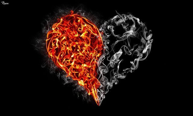 heart with fire on one side and smoke on the other