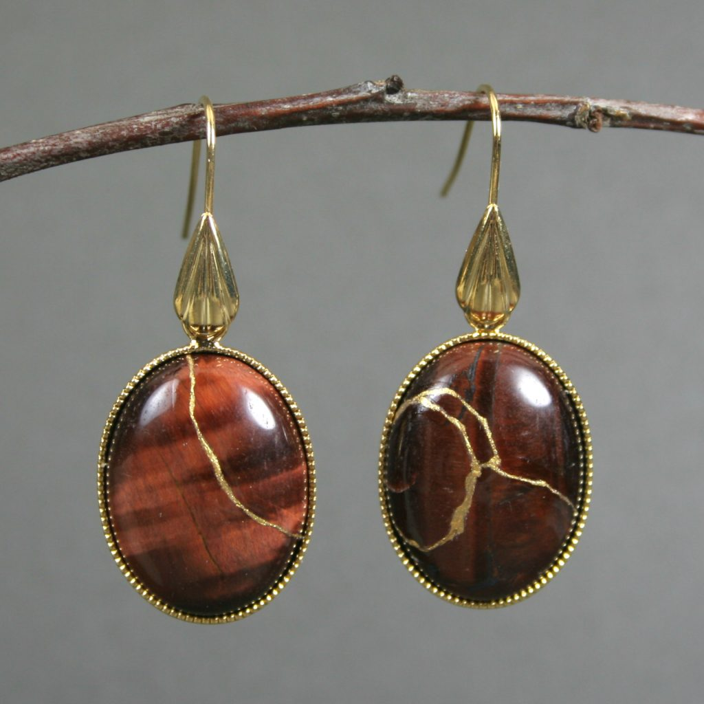 Kintsugi (kintsukuroi) red tiger eye earrings with gold repair in gold plated settings with gold plated teardrop ear wires