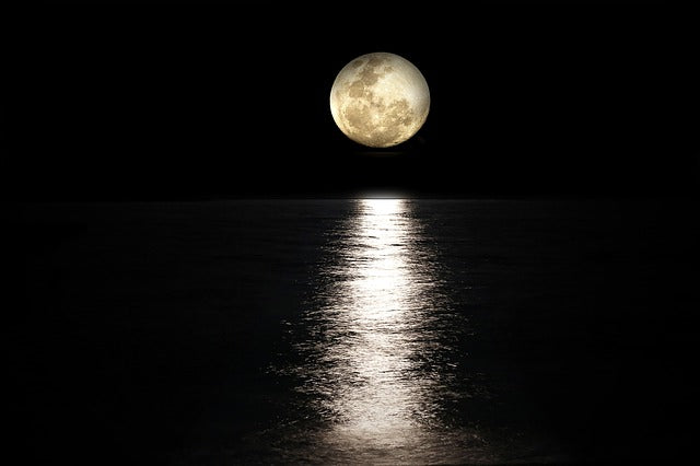 moon reflecting light across water in the dark