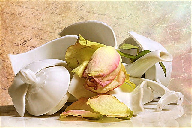 pieces of a broken teapot with a wilted rosebud laying on it