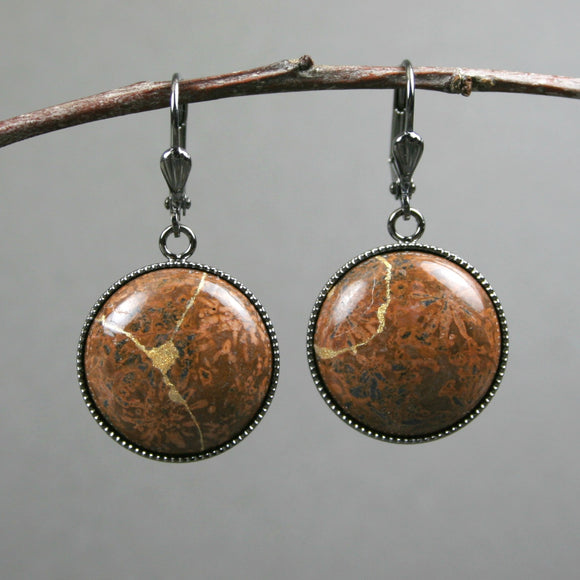 Chrysanthemum stone kintsugi earrings on gunmetal plated leverback ear wires