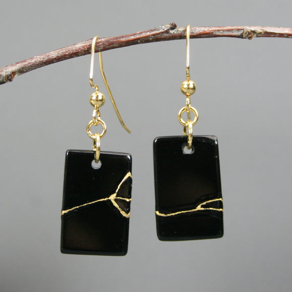 Obsidian kintsugi earrings on gold plated ear wires