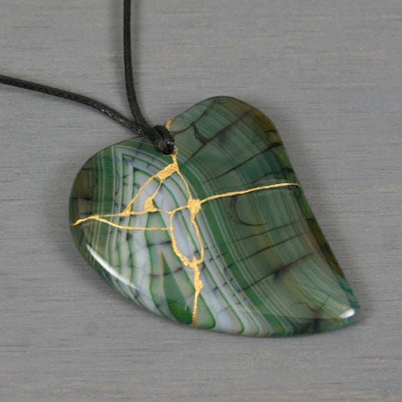 Green dragon veins agate broken heart pendant with kintsugi repair on black cotton cord